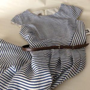 Anne Klein blue striped summer dress sz 14 NWT